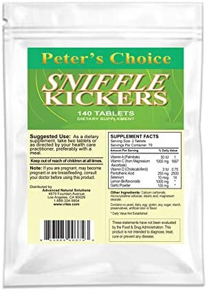 Peter's Choice Sniffle Kickers, 140 Tablets, Immune System Support (Vitamin C, A, D, Garlic, Lemon Bioflavonoids +More) Made in USA