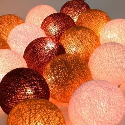 Christmas or Patio Party Light String Thai Vintage Handmade Asian Oriental Handcraft Art Brown Tone Mix Yarn Cotton Ball Lamp (20/set)/Decor Accessory/Garden Decorative/Decor Modern Design from
