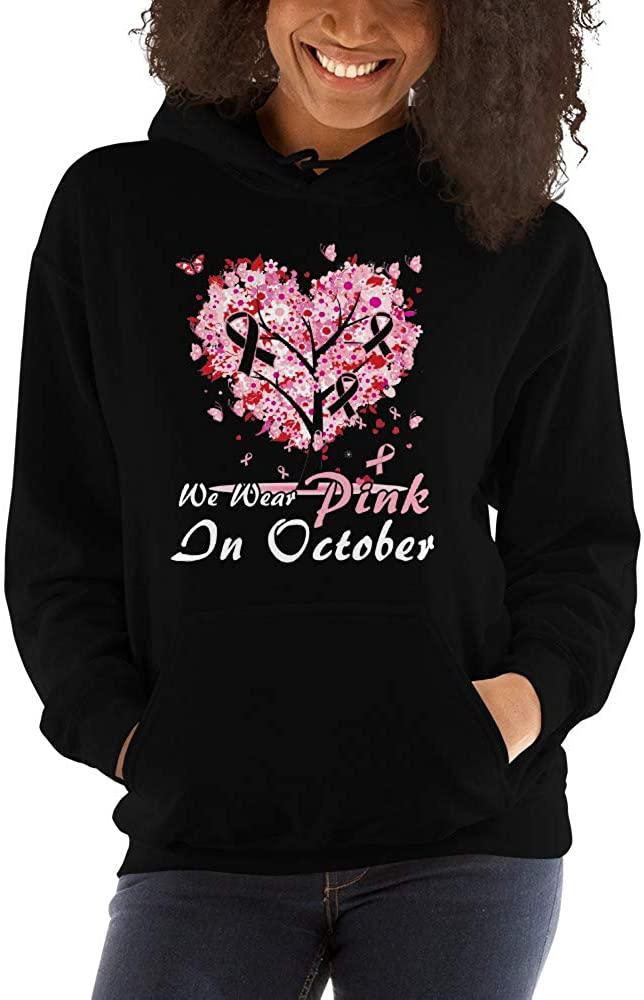 in October We Wear Pink Breast Cancer Awareness Unisex Hoodie