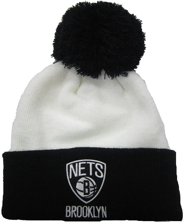 adidas Brooklyn Nets White/Black Cuffed Pom Knit Cap/Beanie