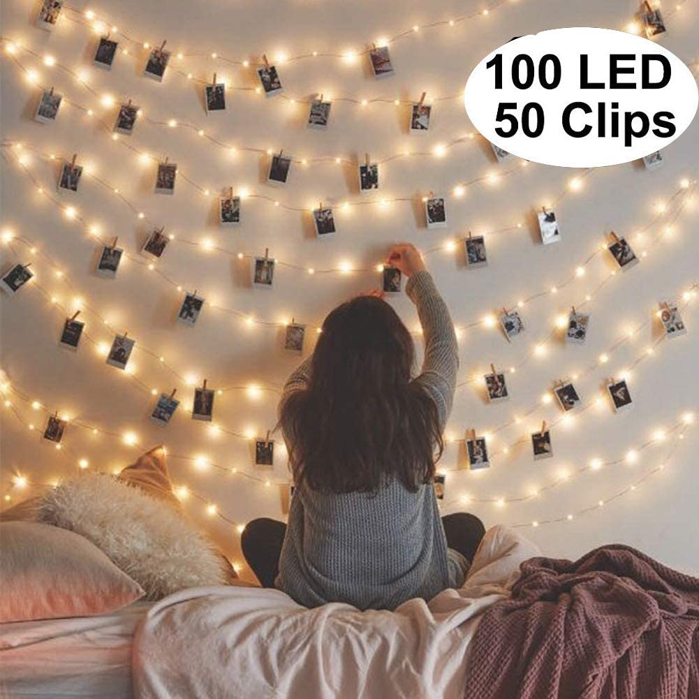 100LED Photo Clip String Lights, 50 Photo Clips USB Powered Fairy Twinkle Lights, Wedding Party Home Dorm Bedroom Christmas Decor Lights for Hanging Photos, Cards and Artwork (33 Ft, Warm White)