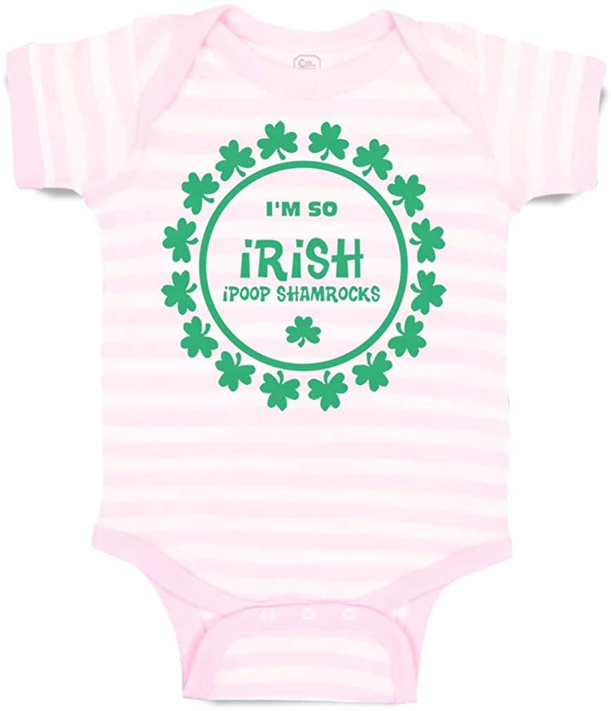 Custom Baby Bodysuit I'm So Irish I Poop Shamrocks Cotton Boy & Girl Clothes