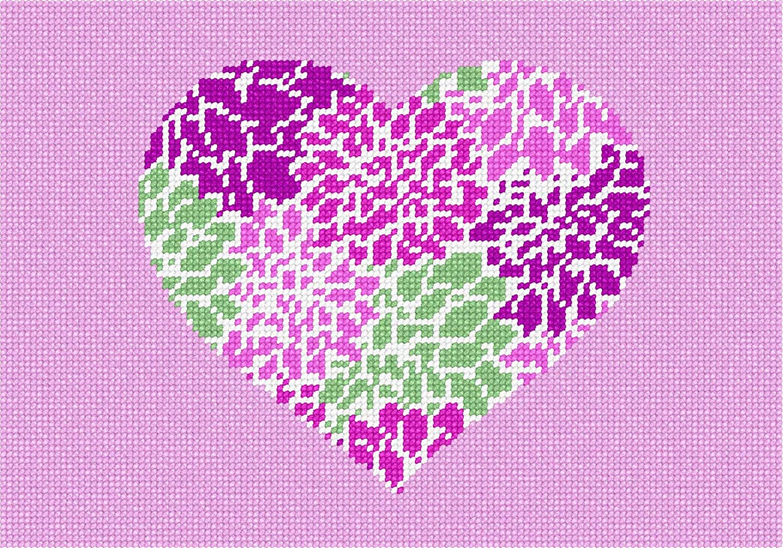 pepita Heart Floral Needlepoint Kit