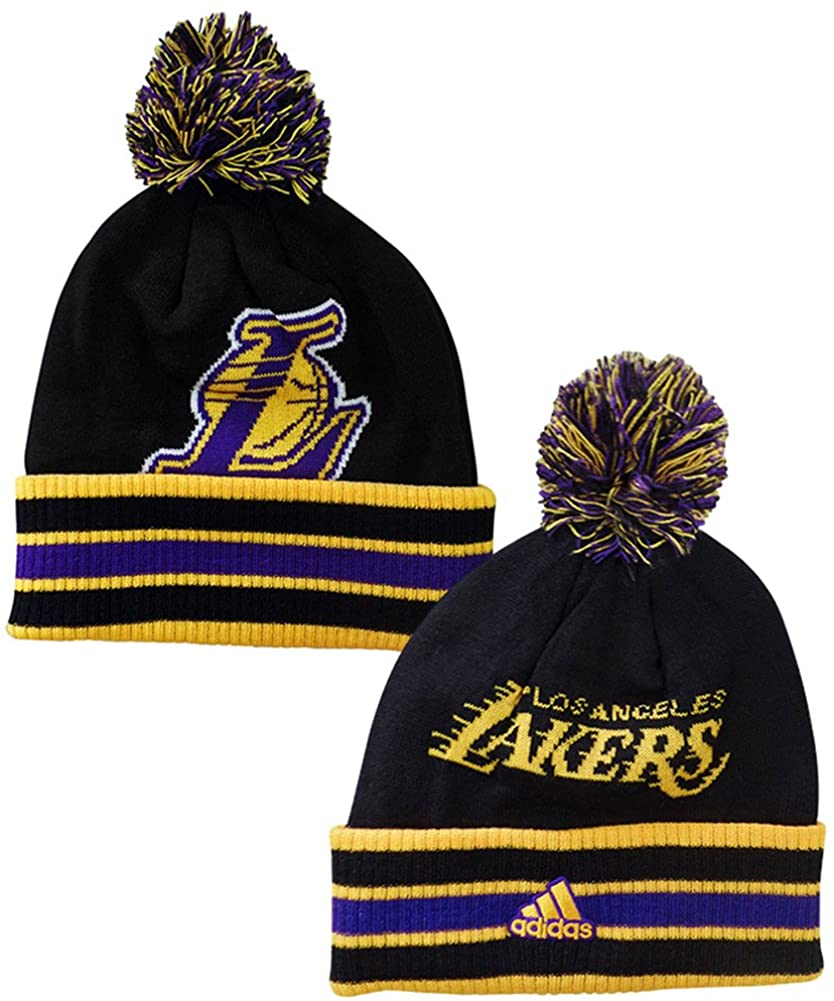 adidas Los Angeles Lakers Double Sided Striped Cuff Pom Knit Beanie Hat/Cap