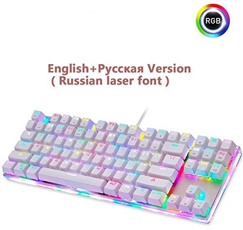 Gaming Keyboard Original Gaming Mechanical Keyboard USB Wired 87 Keys with RGB Backlight Red/Blue Switch for PC Computer Gamer (Axis Body : Blue Switch, Color : Russian Version)