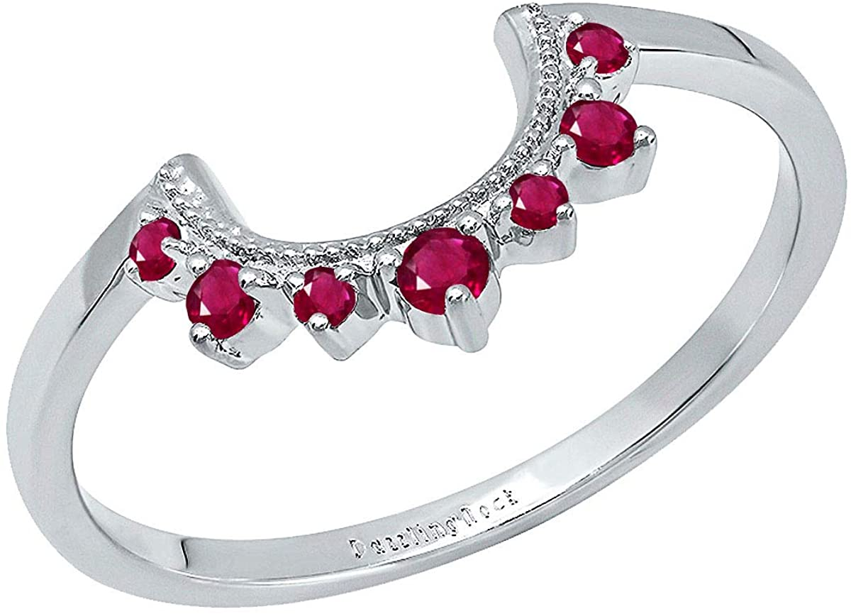 Dazzlingrock Collection Round Lab Created Gemstone Ladies Guard Curved Wedding Band for Solitaire Ring, 14K White Gold