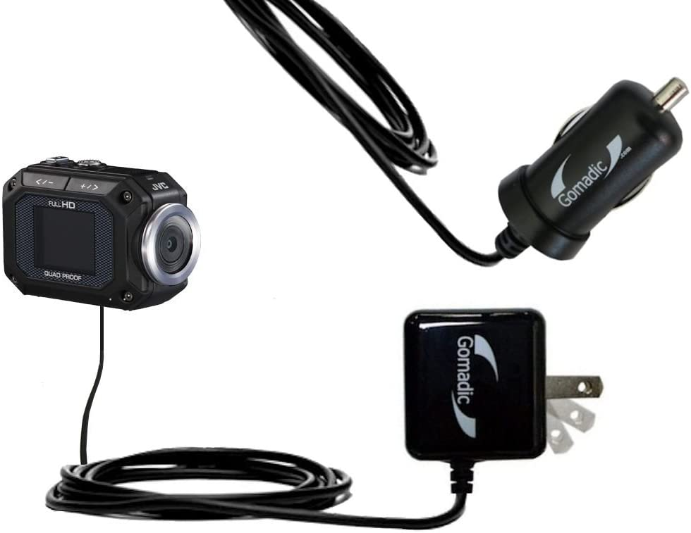 Gomadic Car and Wall Charger Essential Kit suitable for the JVC GC-XA1 ADIXXION - Includes both AC Wall and DC Car Charging Options with TipExchange