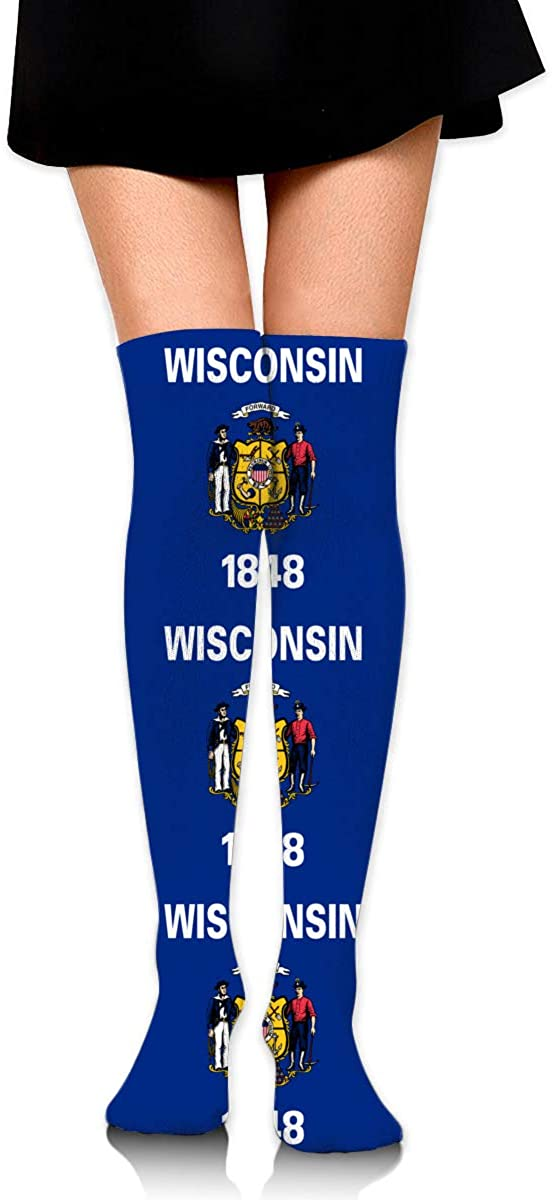 Knee High Socks Flag Of Wisconsin Womens Athletic Over Thigh Long Stockings