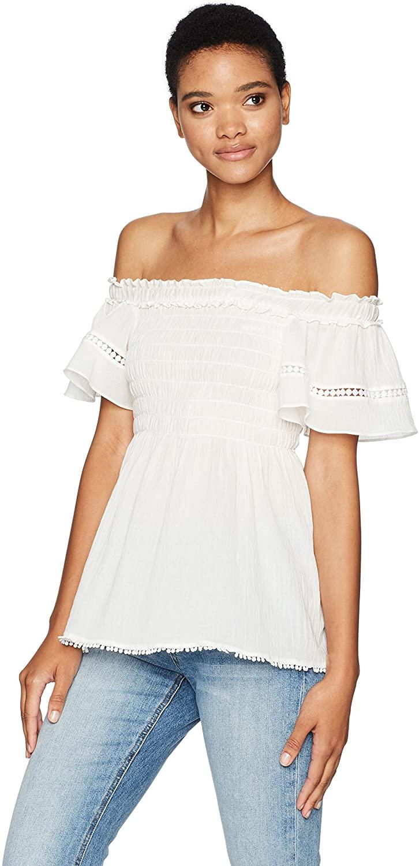 Max Studio Women's Short Cotton Crepeon Off The Shoulder Shirt