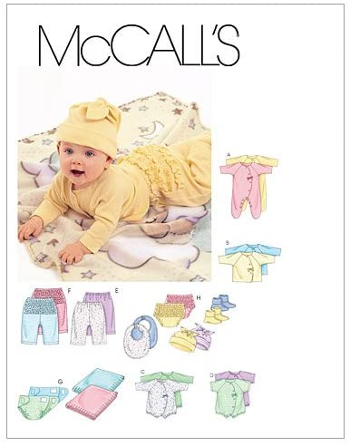 McCall's Patterns M6223 Infants' Coveralls, Top, Bodysuit, Pants, Diaper Cover, Blanket, Booties, Bib and Hat