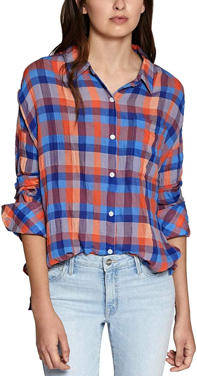 Sanctuary Womens Plaid Long Sleeves Casual Top Blue L