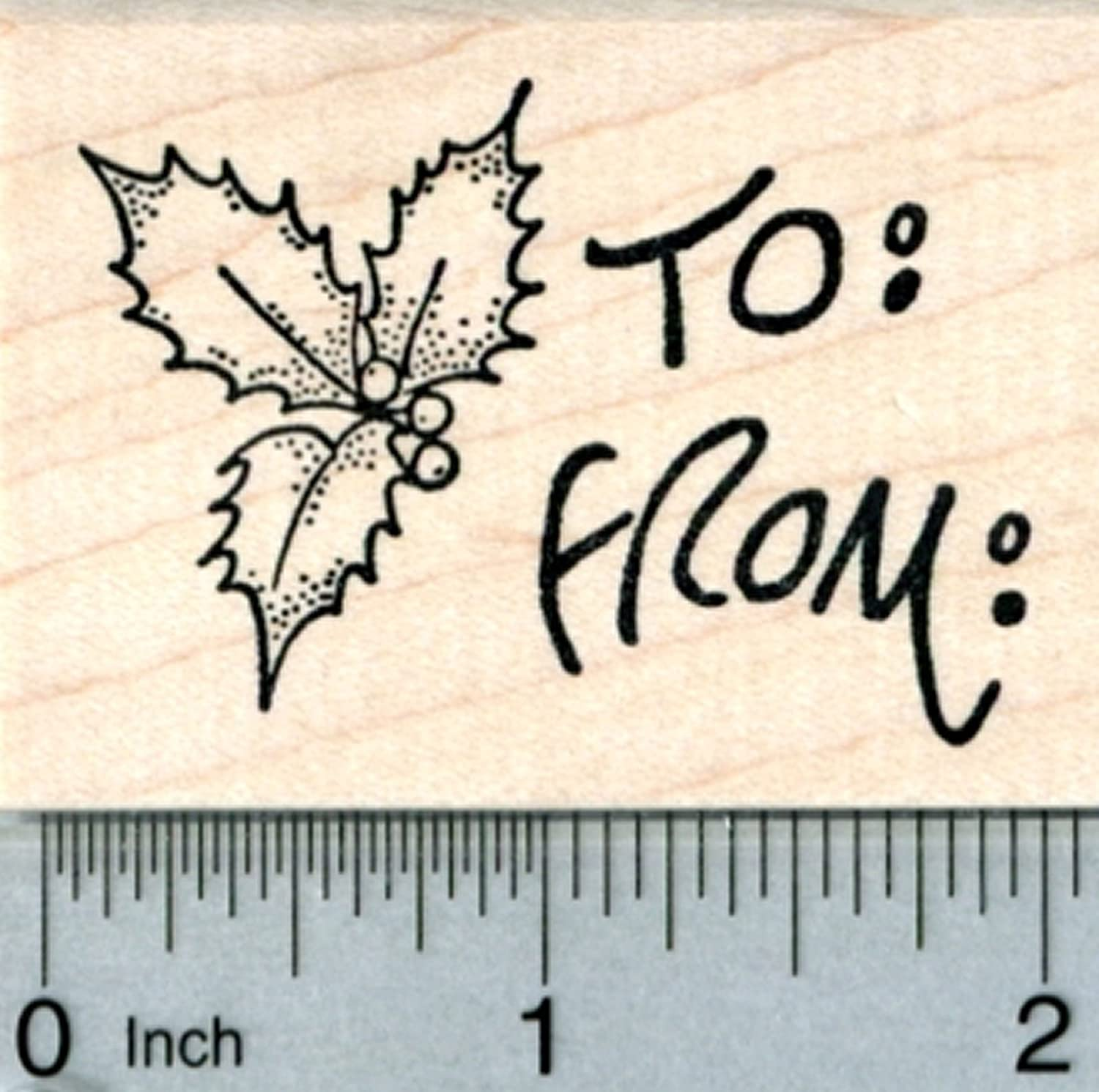 Holly Gift Tag Rubber Stamp, Christmas Series
