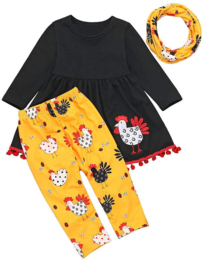 Toddler Kids Baby Girl Turkey T Shirt Dress Pants Thanksgiving Scarf Outfits Set