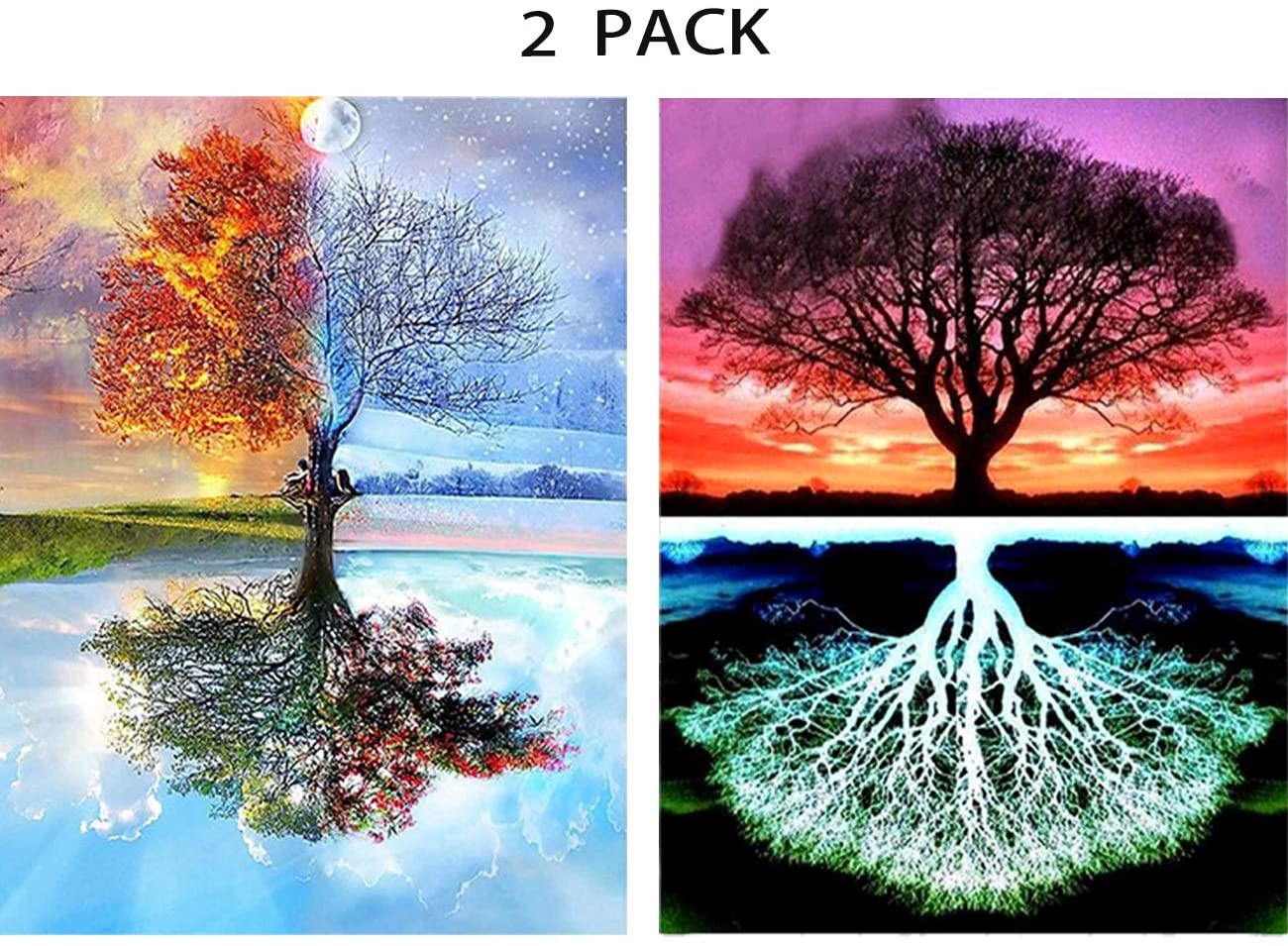 5D Diamond Art Kits for Adults, 2 Pack DIY Diamond Painting Dotz Full Drill Embroidery Craft Home Decor, Four Seasons Tree and Tree of Life (11.8 x 15.7 inch)