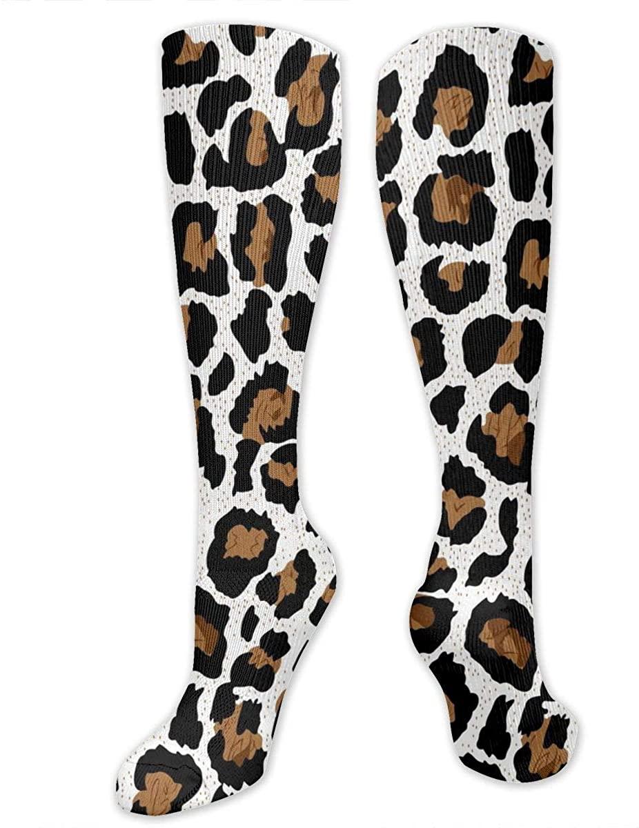 Men Women Knee High Socks Leopard Skin Texture Boot Tube Hose Long Stockings