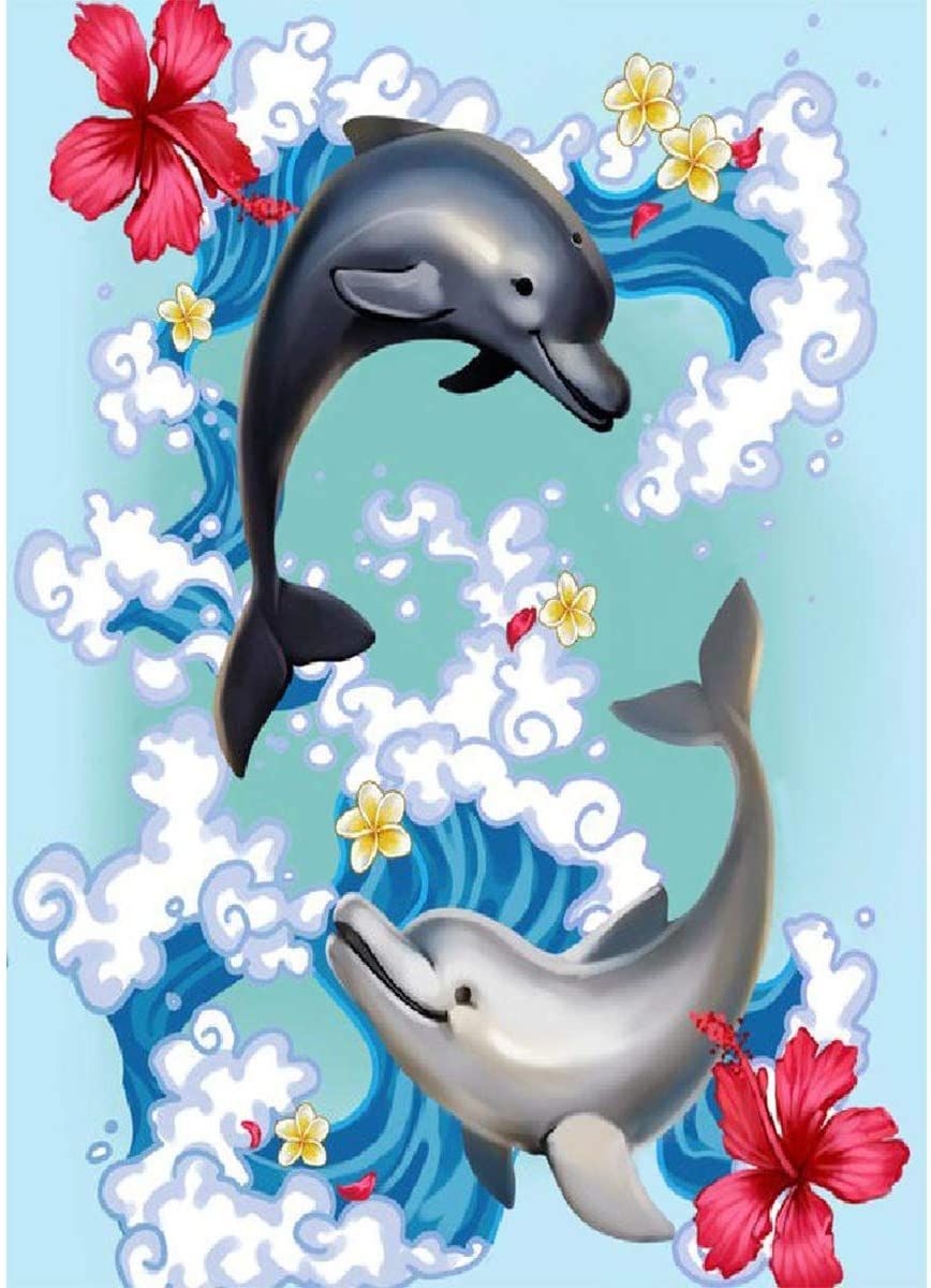 DIY 5D Painting by Numbers Kits for Adults Dpray Dolphins Portrait Art Crystal Rhinestone Embroidery Easy Cross Stitch Arts Craft Supply Canvas for Home Kitchen Hotel Salon Wall Décor 30X40cm