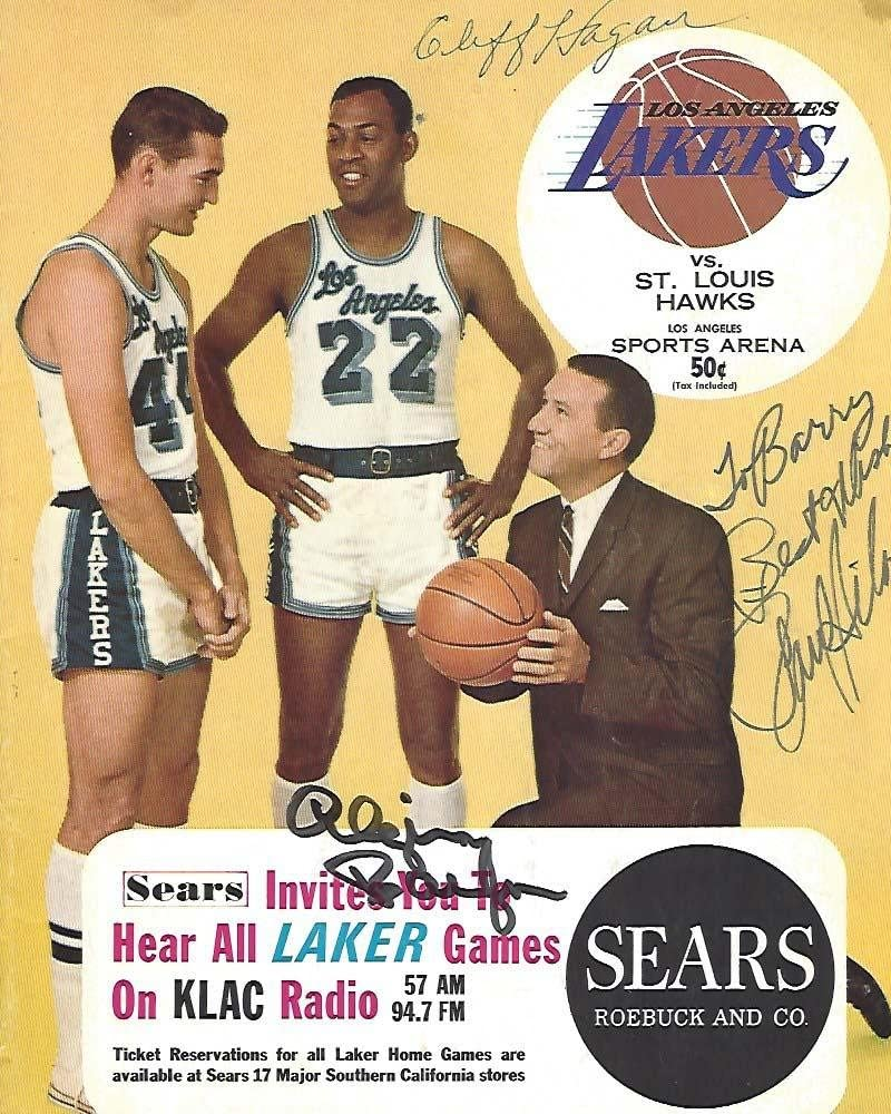 1965-66 NBA PROGRAM (LAKERS VS HAWKS) Signed by LAKER ELGIN BAYLOR (Inducted HOF 1977) and Signed by HAWKS CLIFF HAGAN (Inducted HOF 1978 and PAUL SILAS - NBA Autographed Miscellaneous Items