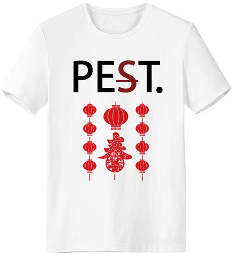 Traditional Red Chinese Lantern Pattern Pet But Not Pest White T-Shirt Short Sleeve Crew Neck Sport