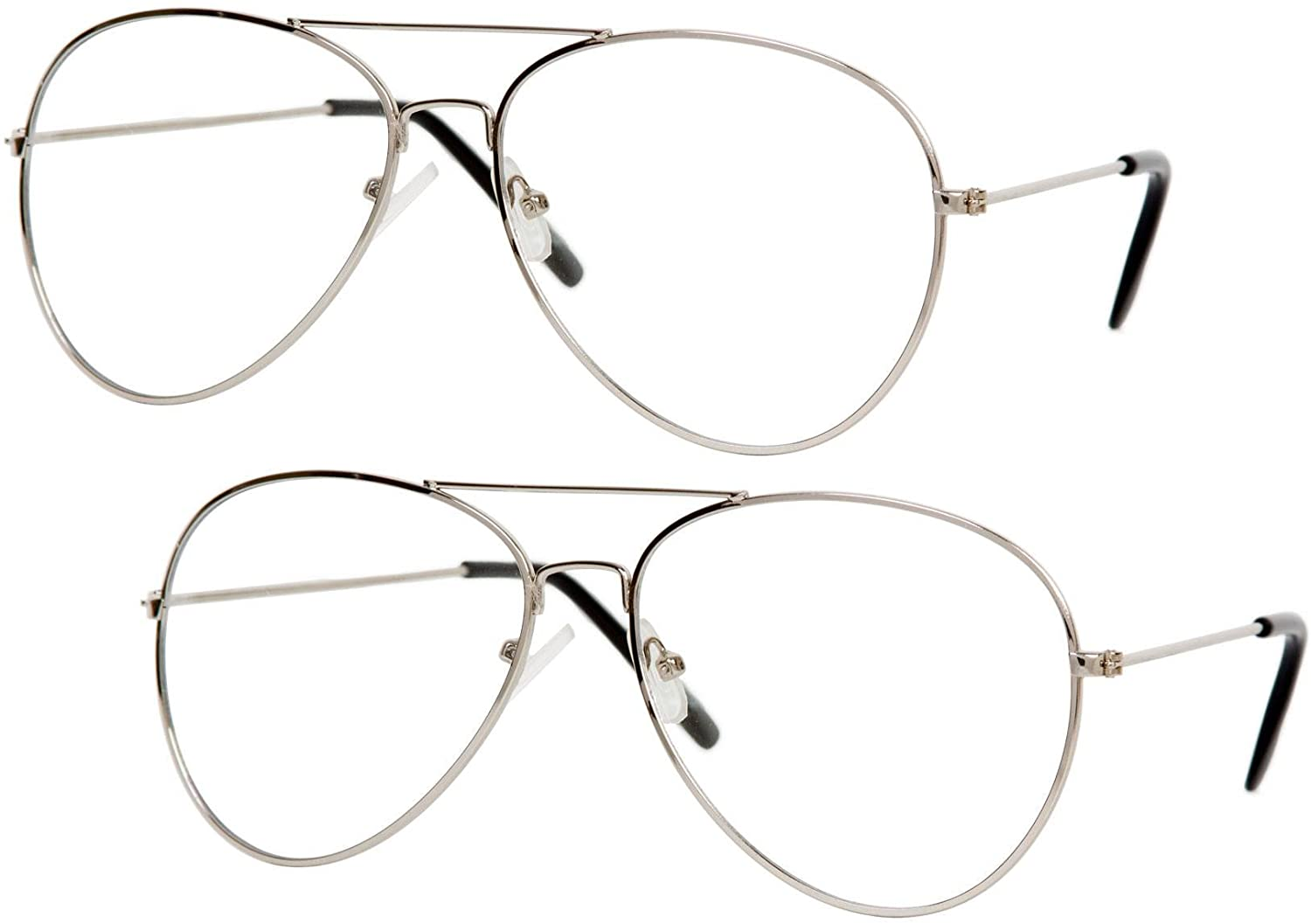 Gravity Shades Clear Lens Aviator Sunglass, Silver 2 Pack