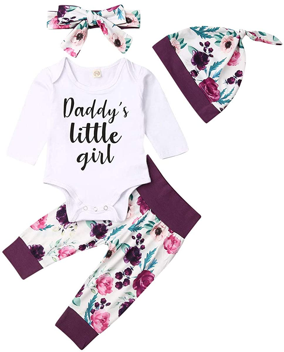 Newborn Baby Girls Winter 4Pcs Outfit Daddy s Little Girl Long Sleeve Romper Pants hat Headband Clothes Set