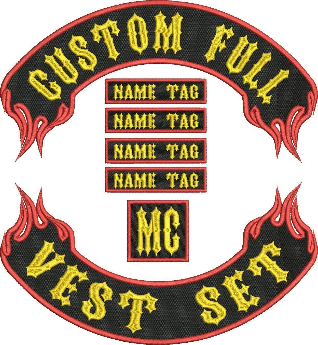 Custom Flame Full Vest Set 15 MC Bikers Embroidered Patches