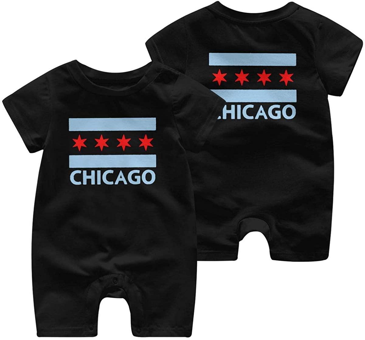 ChenYeSheng Chicago City Flag Short-Sleeve Infant Baby Boys Girls Short Sleeve Bodysuit Romper Jumpsuit for 0-24M