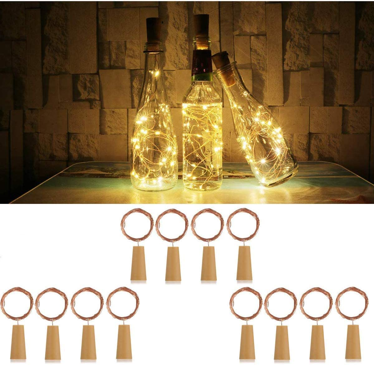 DOOK Wine Bottle Lights with Cork,6.6ft 20 LED Battery Operated String Lights,Warm White Decorative Fairy Lights,Mini Copper Wire Lights for Bedroom Decor,Christmas Party Wedding Decorations, 12 Pack