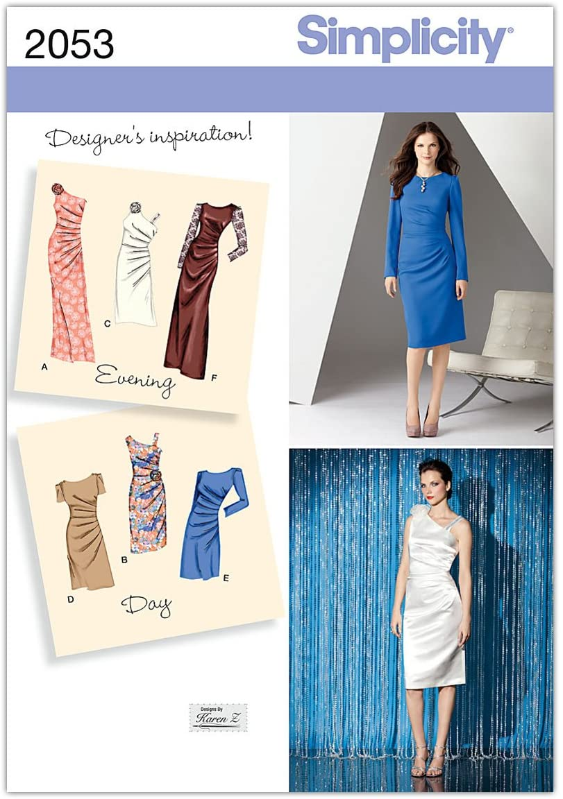 Simplicity Karen Z Pattern 2053 Misses Dress in two Lengths with Bodice Variations Sizes 6-8-10-12-14