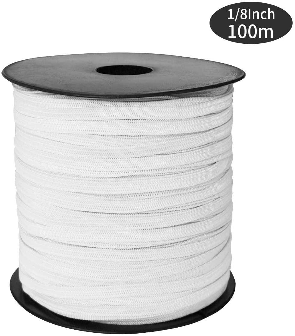 SUNTQ 100m White Elastic Sewing Elastic Rope for Masks for DIY Handmade