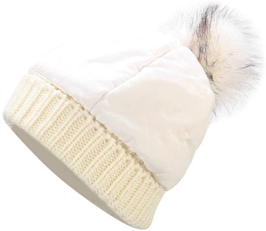 Womens Beanie Hats with Pompom Faux Fur Beanie Cap Outdoor Sports Winter Hats Knit Beanie Cap