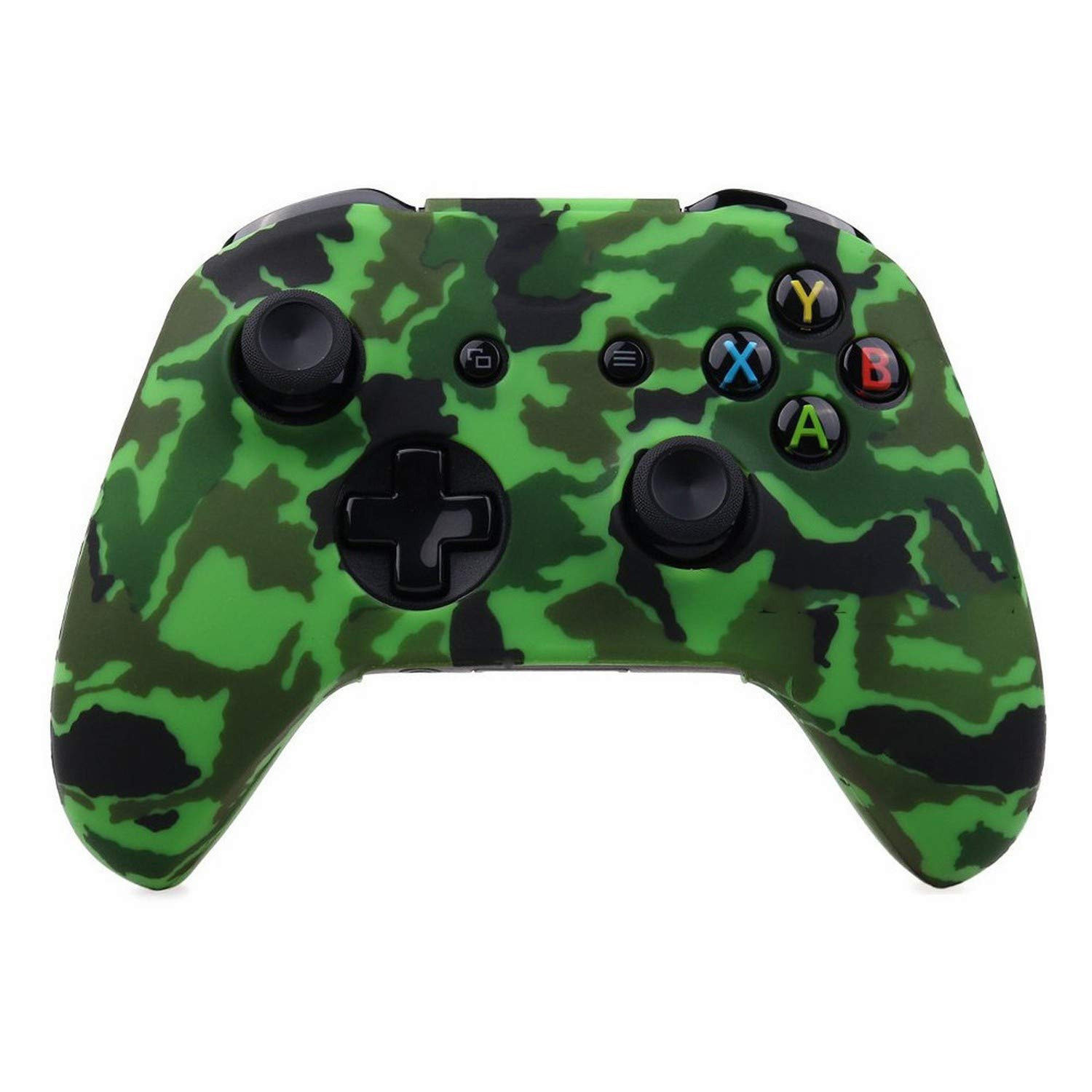 Silicone Protective Skin Case for XBox One X S Controller Protector Water Transfer Printing Camouflage Cover Grips Caps,Green Camo