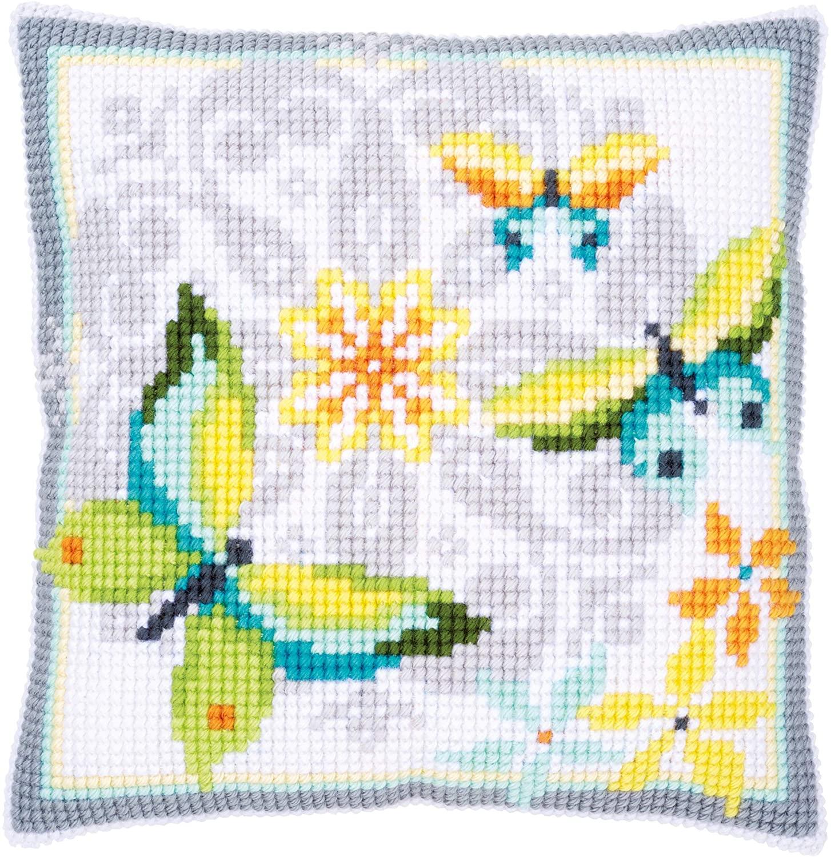 Vervaco Cushion: Butterflies & Flowers, Acrylic Assorted, 12 x 1 x 17 cm
