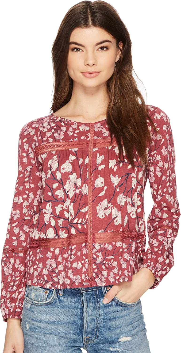 Lucky Brand Women's Printed Lace Insert Top