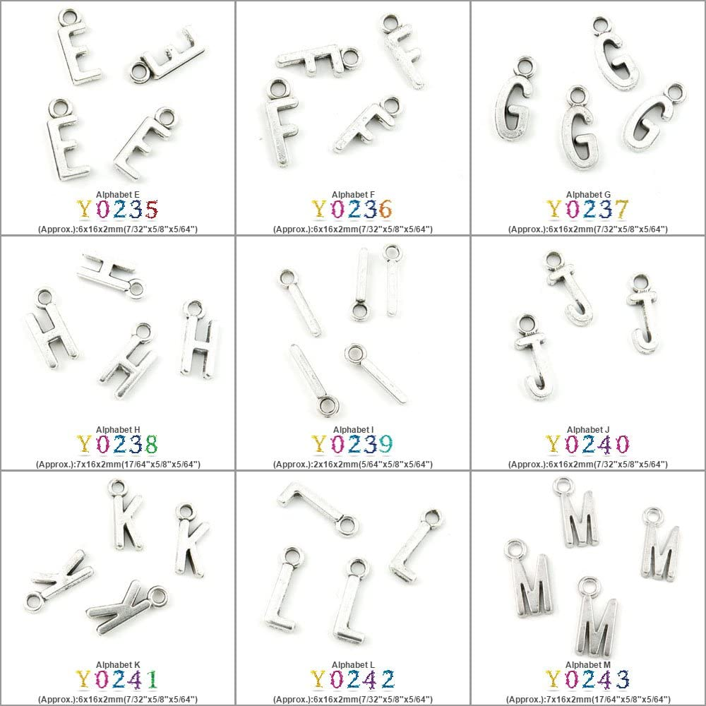 1350 PCS Antique Silver Tone Jewelry Making Charms Findings Jewellery Charme Supply Supplies Lots Bulk Wholesale Y0243 Alphabet M