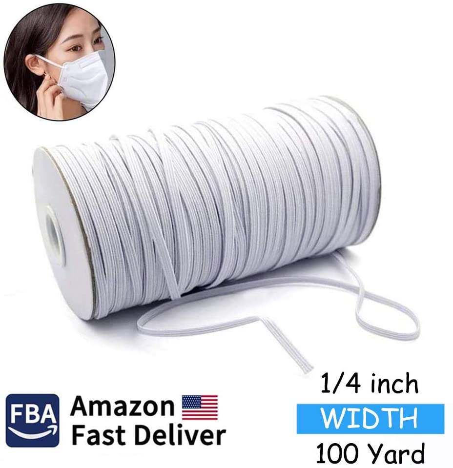 100 Yards Length 1/4 Inch Width Braided Elastic for Sewing Elastic Band White 0.6cm/6mm Elastic String Cord Stretch High Elasticity Knit for Sewing Craft DIY, Ear Band Loop - White