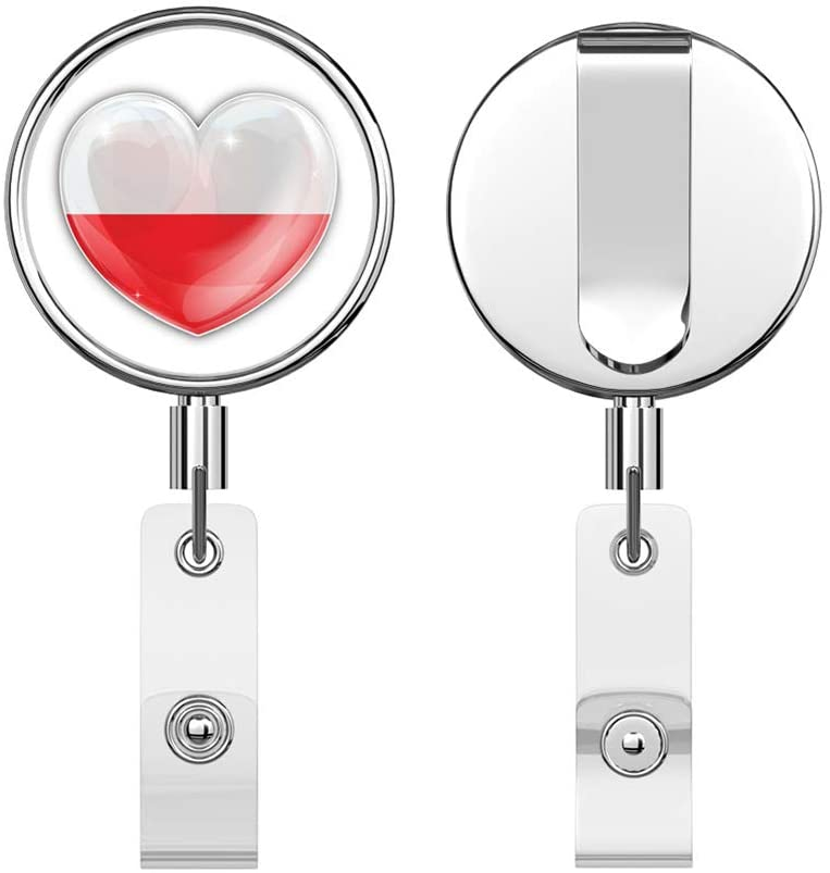 Poland Glossy World Flag Love Heart Conceprt Round ID Badge Key Card Tag Holder Badge Retractable Reel Badge Holder with Belt Clip