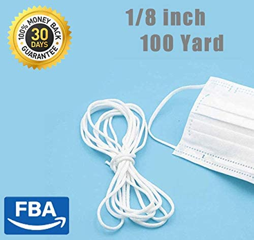1/8 inch Width Elastic Rope for face Mk DIY,White Earloop Cord Ear Tie Rope Handmade String for M sk Sewing 100-Yards Length Premium Quality