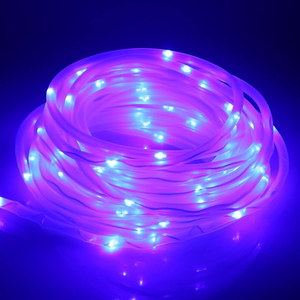 Solar Powered 100-LED Hollow Soft Tube Copper Wire String Light Lamp