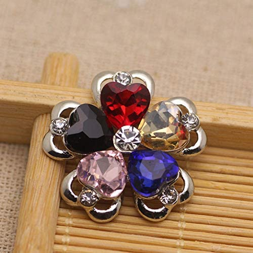 Xuccus Heart Flower Shape sew on Rhinestone Crystal Flatback Silver Base rhienstone Applique DIY Garments Clothing Dress Shoes Hats - (Color: Mix Color, Number of Pcs: 2Pcs)
