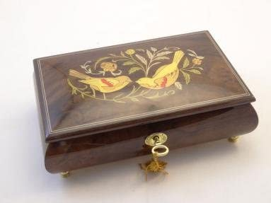 Made in Italy Sorrento Inlaid Burled Walnut High Gloss Music Box With Birds And Flowers Inlay - Somewhere out there (Sankyo 18-notes)
