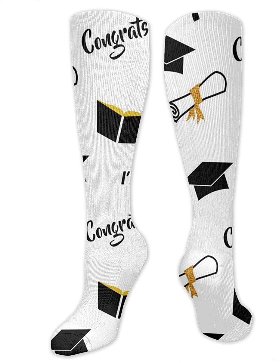 Men Women Knee High Socks Graduation Bachelors Cap Black Golden Hose Stockings