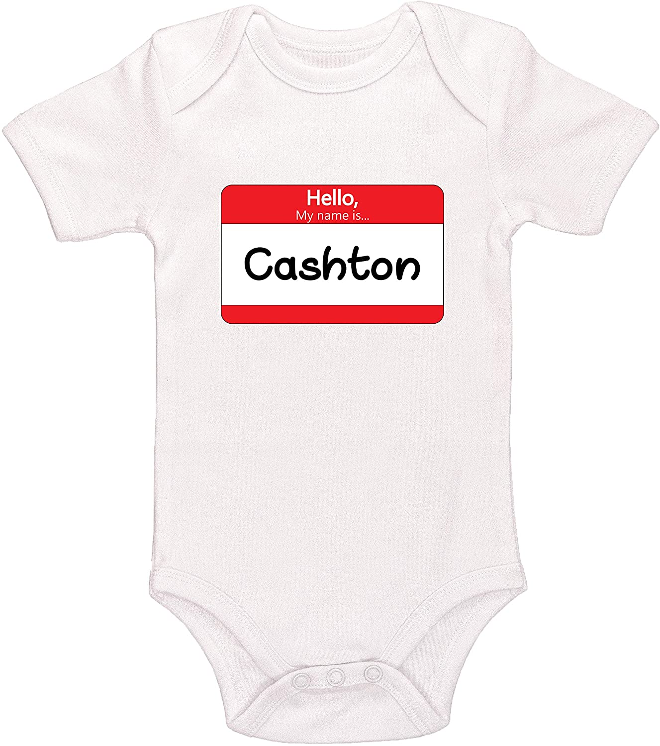 Kinacle Hello My Name is Cashton Personalized Baby Bodysuit