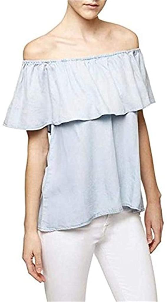 Sanctuary Womens Misha Ruffle Butterfly Sleeves Blouse Blue XL