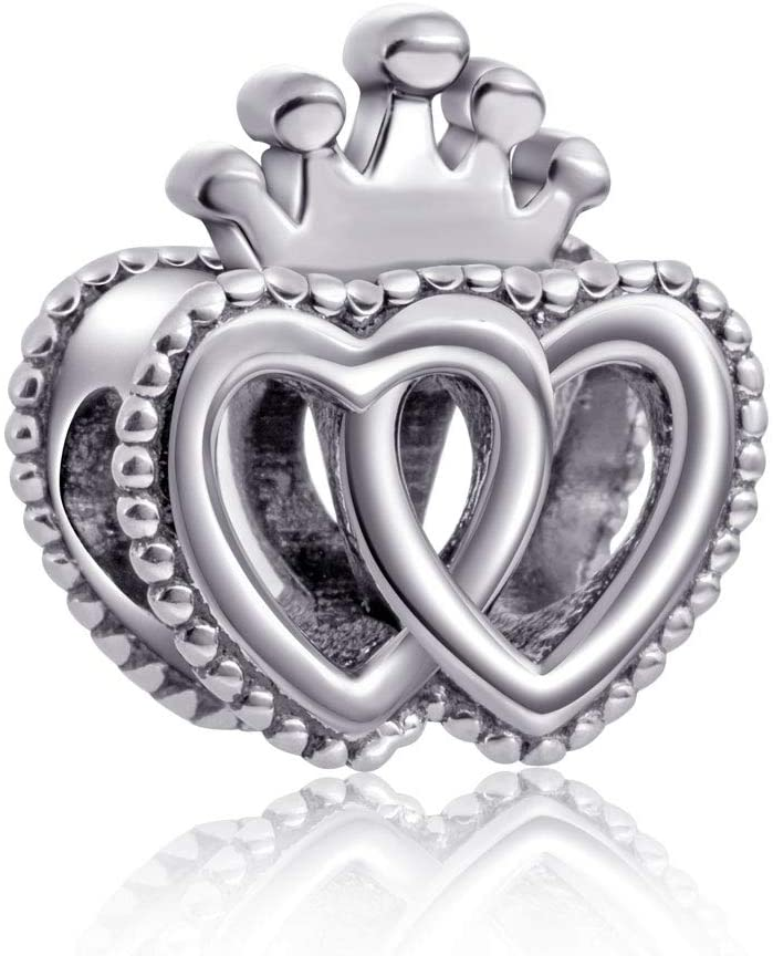 Crown Beads 925 Sterling Silver Love Charms for Women Bracelets