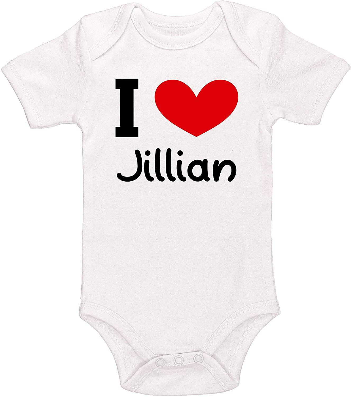Kinacle I Love Jillian Personalized Baby Bodysuit