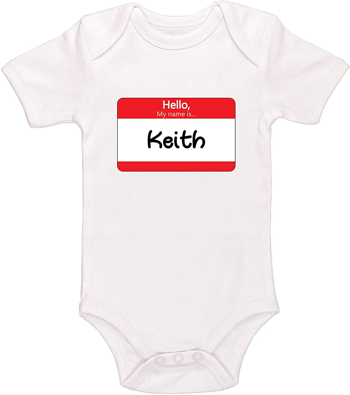 Kinacle Hello My Name is Keith Personalized Baby Bodysuit