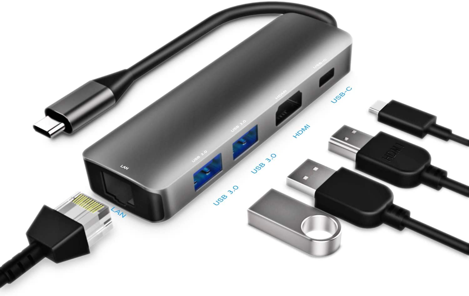 USB C Hub, Aluminum Multi Port Type C Adapter with Gigabit Ethernet, 4K USB C to HDMI, 2 USB 3.0, 60W USB C PD Power Delivery, Compatible with MacBook Pro 2018/2017/2016, XPS, Chromebook and More
