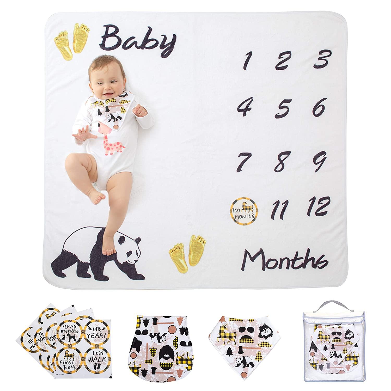Newborn Monthly Milestone Blanket for Baby Girl or Boy | 100% Organic Muslin Cotton | Premium Plush Fleece | Infant Jumbo Pack with Milestone Stickers Bib Cloth Cute Photography Props