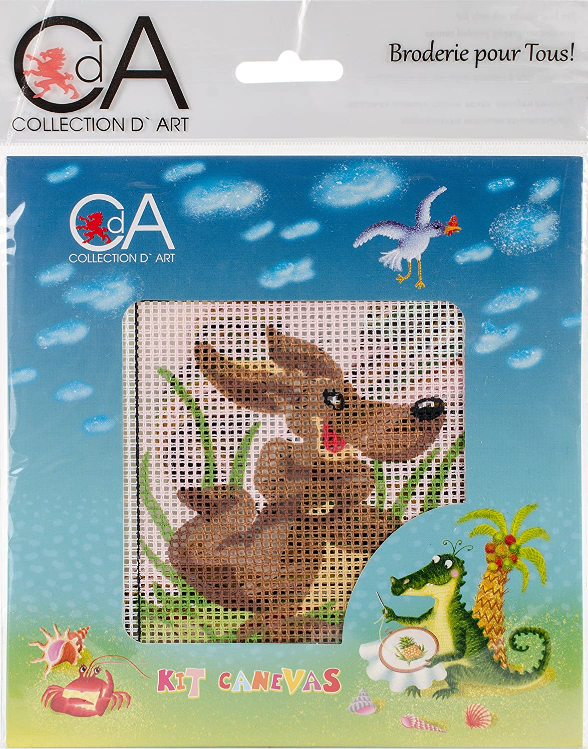 RTO Collection D'Art Stamped Needlepoint Kit 15X15cm, Wooden Dog