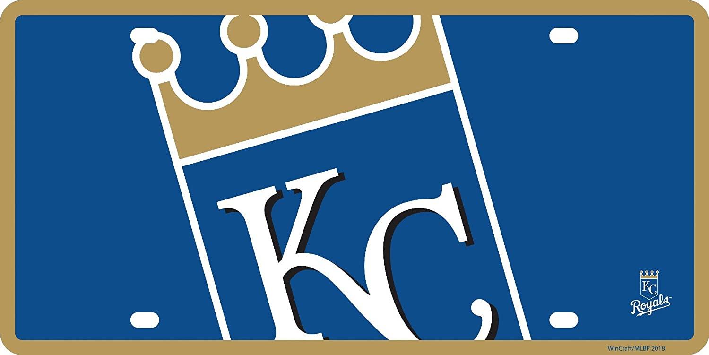 Stockdale Kansas City Royals Mega Logo Design Premium Laser Cut Tag Acrylic Inlaid License Plate Baseball